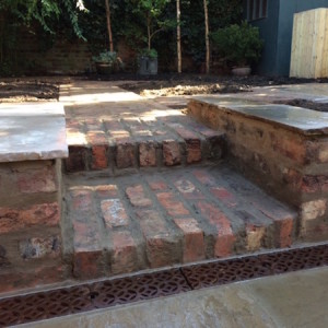 Reclaimed brick steps