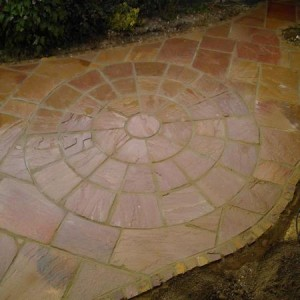 Circular inset in sandstone path