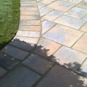 Riven concrete paving