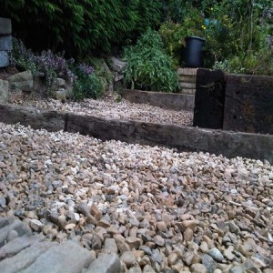 Reclaimed sleepers used for rustic steps