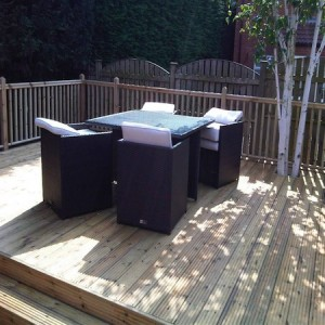 Large deck with patio furniture