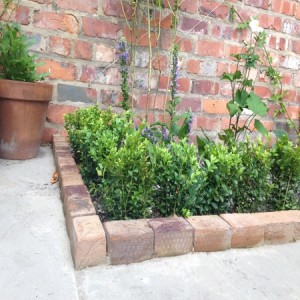 Reclaimed brick edging