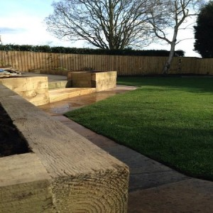 Raised beds made from engineered sleepers