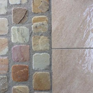 Tumbled sandstone and porcelain