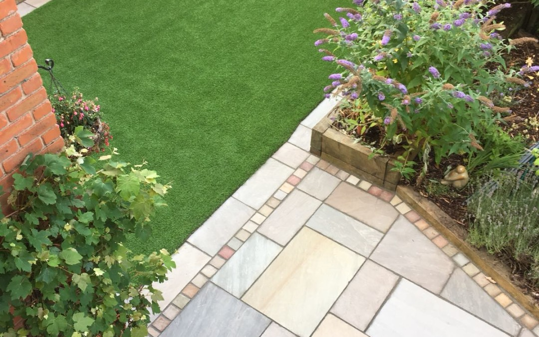 Family garden with artificial turf