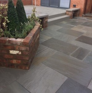 Grey sandstone with Trex decking
